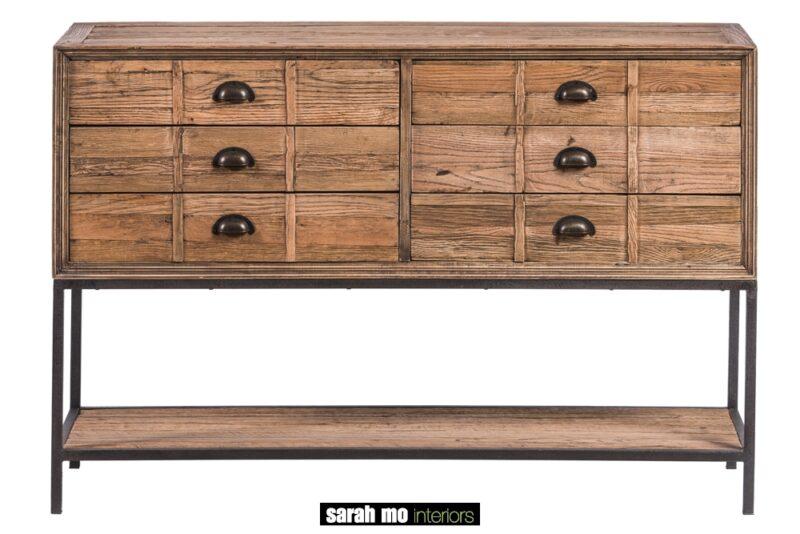 Kastje met 6 lades in gerecycleerde eik - Lade - Landelijke meubels en verlichting - Sarah Mo