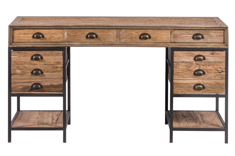 Bureau in gerecycleerde eik en ijzeren frame - Bureau - Landelijke meubels en verlichting - Sarah Mo