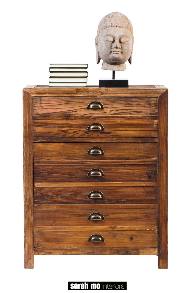 Kastje met 1 deur en 1 schuif in old pine - Lade - Landelijke meubels en verlichting - Sarah Mo