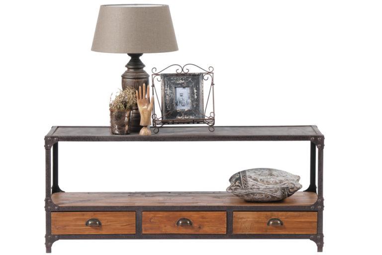 Tv-dressoir met 3 lades en een ijzeren bovenkant - Salontafel - Landelijke meubels en verlichting - Sarah Mo