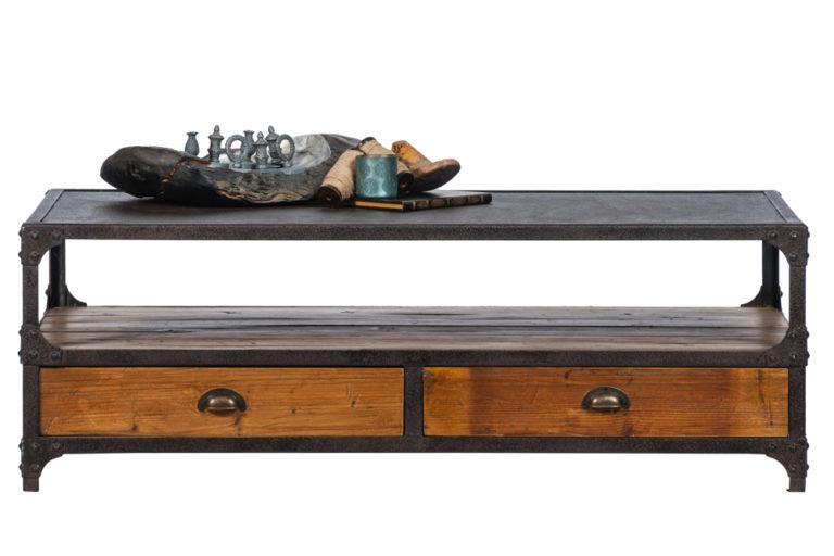 Salontafel met 4 lades en een ijzeren bovenkant - Tafel - Landelijke meubels en verlichting - Sarah Mo