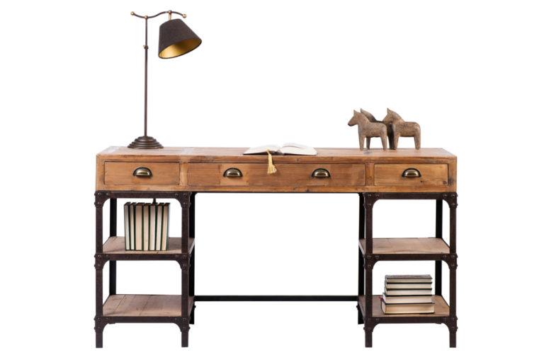 Bureau in old pine met ijzeren omranding - Tafel - Landelijke meubels en verlichting - Sarah Mo