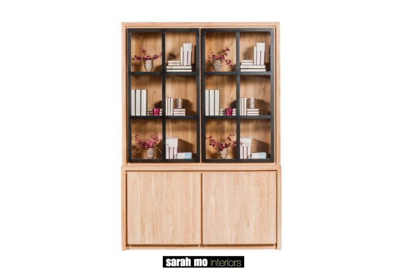 Vitrinekast met 2 deuren in teak met zwarte deuren in glas - Vitrine - Landelijke meubels en verlichting - Sarah Mo