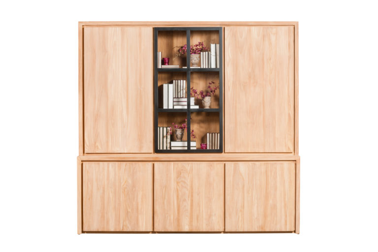 Vitrinekast met 3 deuren in teak en 1 deur zwart in glas - Vitrine - Landelijke meubels en verlichting - Sarah Mo