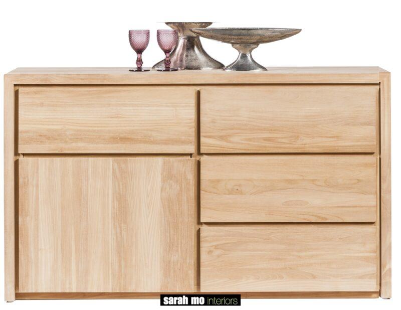 Dressoir in teak met 1 deur en 3 lades - Dressoir - Landelijke meubels en verlichting - Sarah Mo
