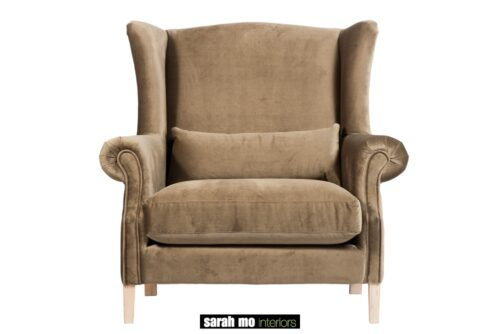 Armfauteuil in diverse bekledingen en pootkleuren mogelijk - Club stoel - Landelijke meubels en verlichting - Sarah Mo