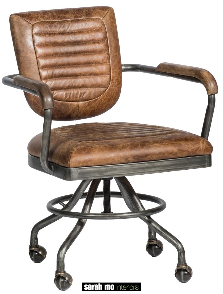 Bureaustoel in vintage leder met ijzeren onderstel - Bureaustoel - Landelijke meubels en verlichting - Sarah Mo