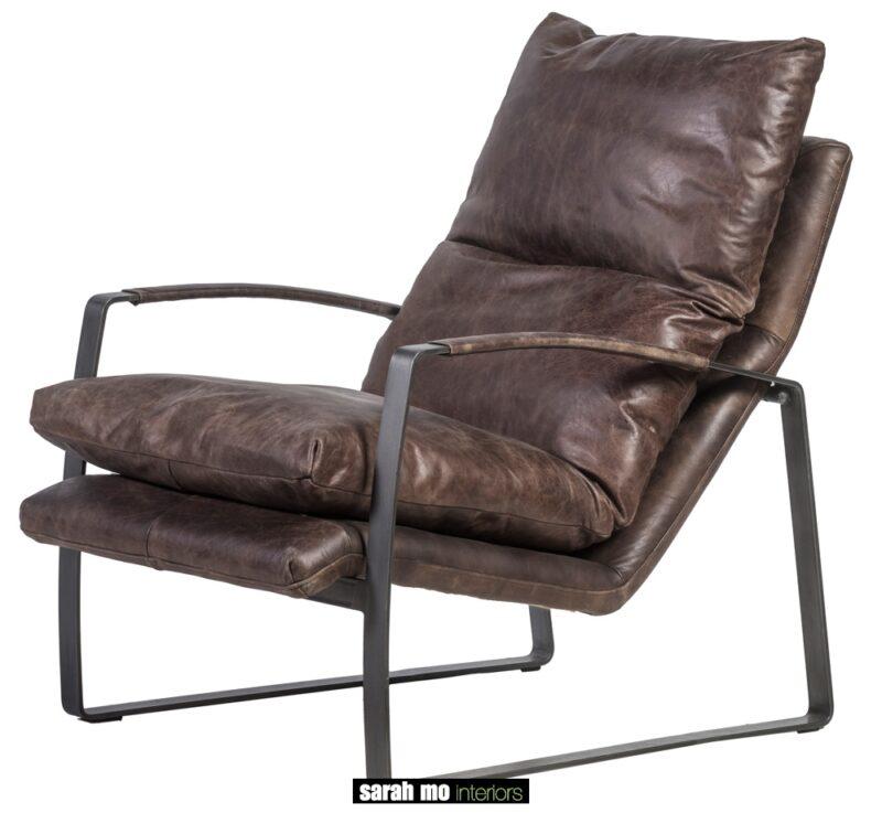 Ligstoel in bruin leder met ijzeren onderstel - Stoel - Landelijke meubels en verlichting - Sarah Mo