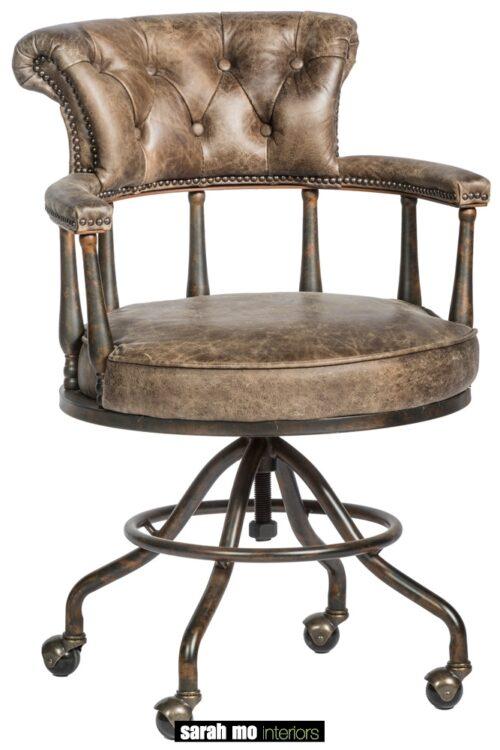 Bureaustoel in vintage leder capiton met ijzeren onderstel - Stoel - Landelijke meubels en verlichting - Sarah Mo