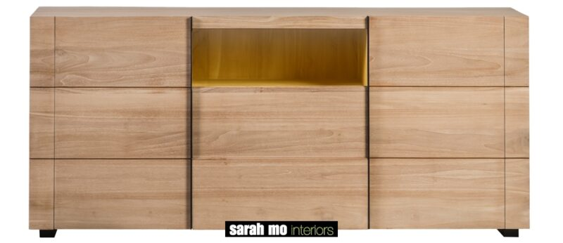 Dressoir in teak met 2 deuren, 2 lades en ledlicht - Lade - Landelijke meubels en verlichting - Sarah Mo