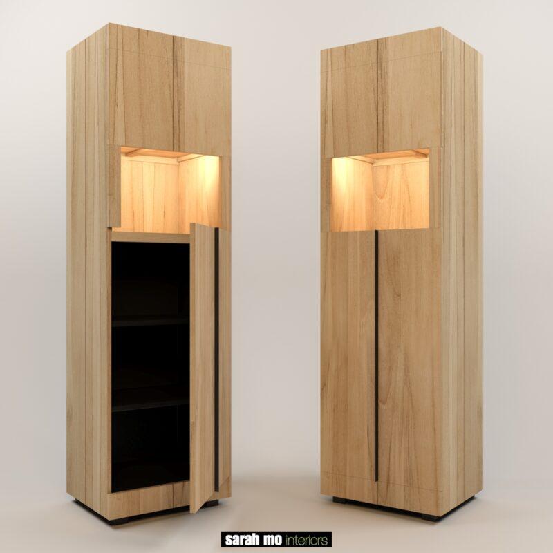 Hoge smalle kast in teak met 2 deuren en ledlicht - Lichtpunt - Landelijke meubels en verlichting - Sarah Mo