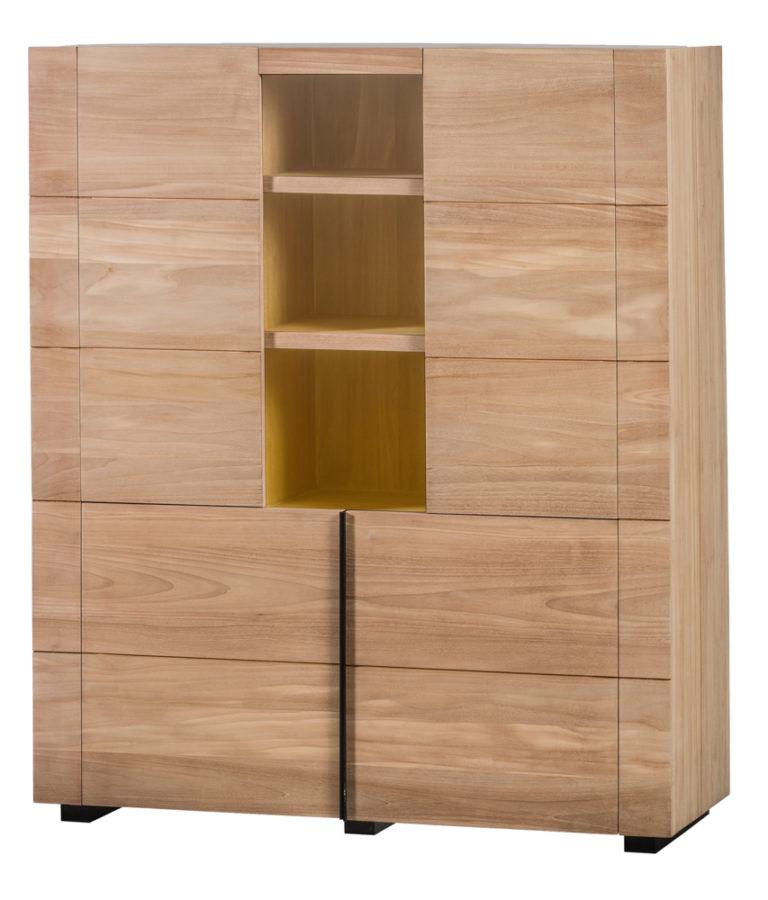 Barkast in teak met 4 deuren en ledlicht - Garderobe - Landelijke meubels en verlichting - Sarah Mo