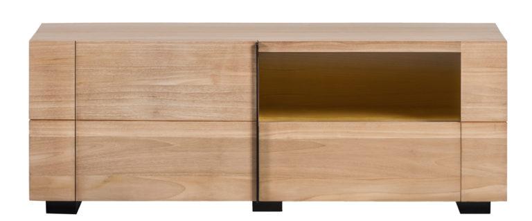 Tv-dressoir in teak met 1 deur, 1 lade en ledlicht - Dressoir - Landelijke meubels en verlichting - Sarah Mo