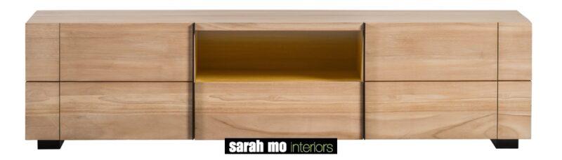 Tv-dressoir in teak met 2 deuren en 2 lades - Dressoir - Landelijke meubels en verlichting - Sarah Mo
