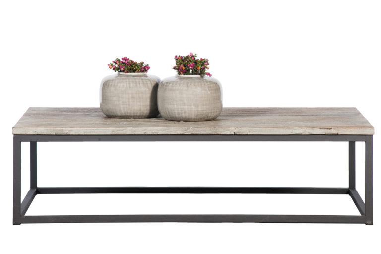 Salontafel in old elm met stalen onderstel - Tafel - Landelijke meubels en verlichting - Sarah Mo