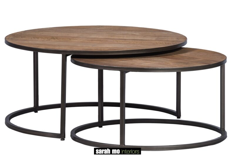Set van 2 ronde salontafels met tablet in teak en onderstel in ijzer - Tafel - Landelijke meubels en verlichting - Sarah Mo